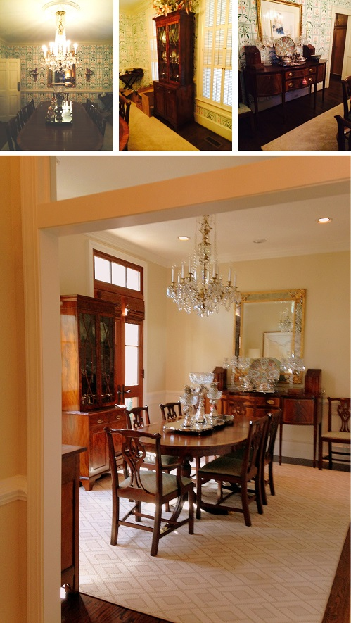 The traditional mahogany dining room furniture and chandelier (top row) fits beautifully in to the new dining room with it's mahogany french doors and new rug.