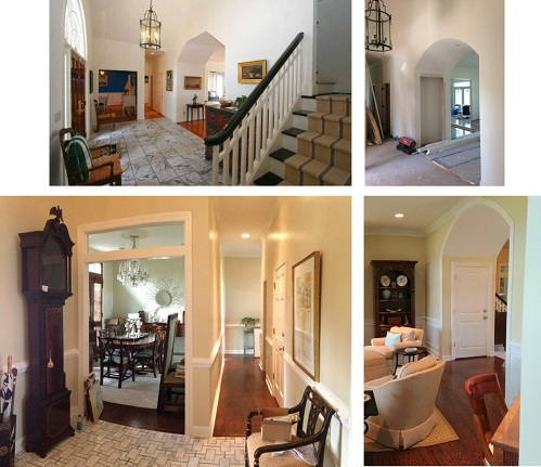 The original foyer (top left) felt very separate from the rest of the house and the opening the the living room was awkward and off center.  By adding interior transoms (bottom left), and a rounded opening to the living room(top and bottom right), the foyer is much more interesting and sophisticated.
