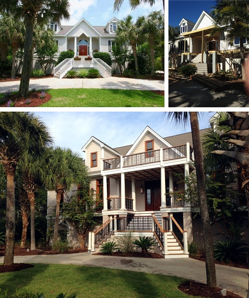You can see the transformation from the the initial facade (top left), construction (top right), to the final facade (bottom) with it's rich mahogany trim and more welcoming porch.