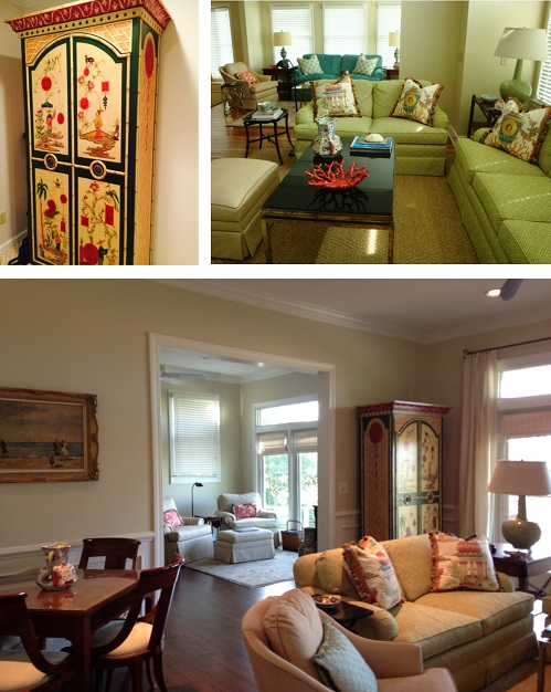 A painted armoire (top left) from their Columbia house blended in perfectly with the colors and furniture from their beach house (top right) in the new living and breakfast room (bottom).