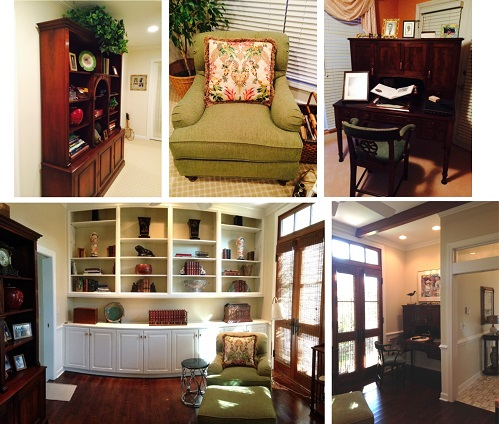 In the study, we were able to place many of the clients existing furnishings (top row) and stylize their bookshelves with many of their accessories.  We also cut down a rug from their beach house for the carpet in this room (not shown).