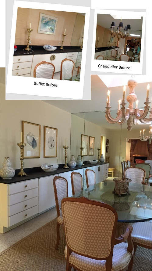 New paint and an updated chandelier help to update the space. The subtraction of brass accessories and the addition of ceramic pottery ones helped to update the look.
