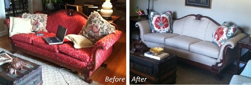 This old sofa has a fresh new look in a client's formal living room.