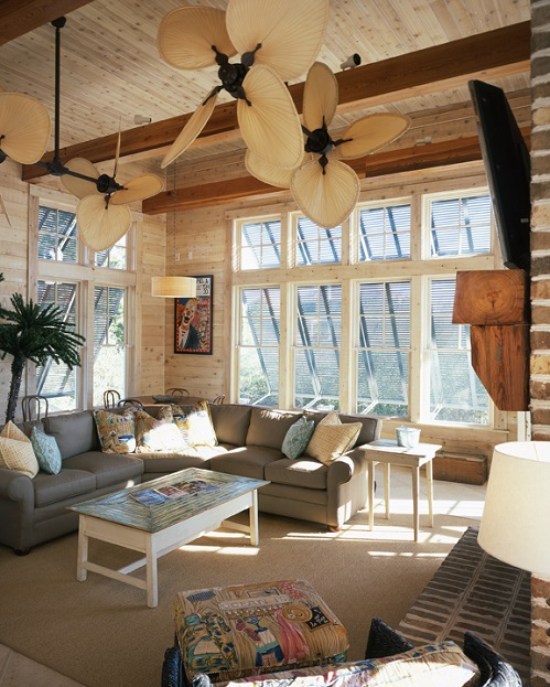 Picked Cypress wall and ceiling boards transformed this beach home game room.