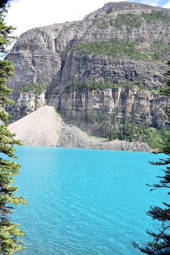 Crystal clear water on Moraine Lake, Alberta, Canada.