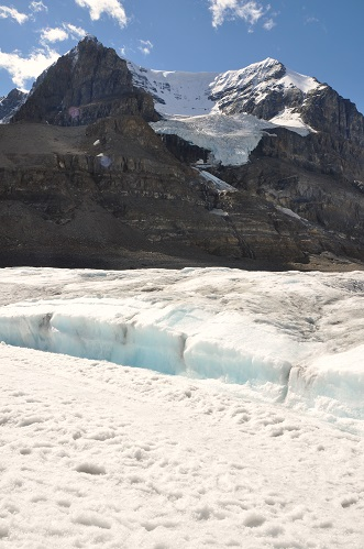 The colors in the Athabasca Glacier range from brilliant white to ice blue (the dark color on the ice is sut from the in wildfires in Glacier National Park, Montana.