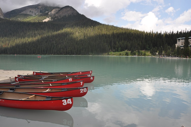Lake Louise, Alberta, Canada - and yes, we paddled around in these canoes!