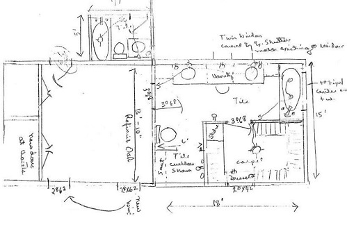 A quick sketch of the master bedroom and bathroom addition.