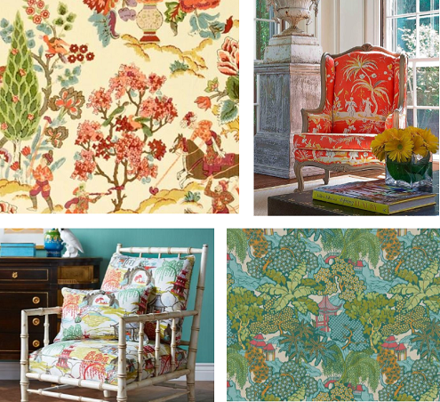 Multi color prints can add drama to accent chairs.