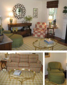 The upholstered furniture in their starter home found new life after being recovered.